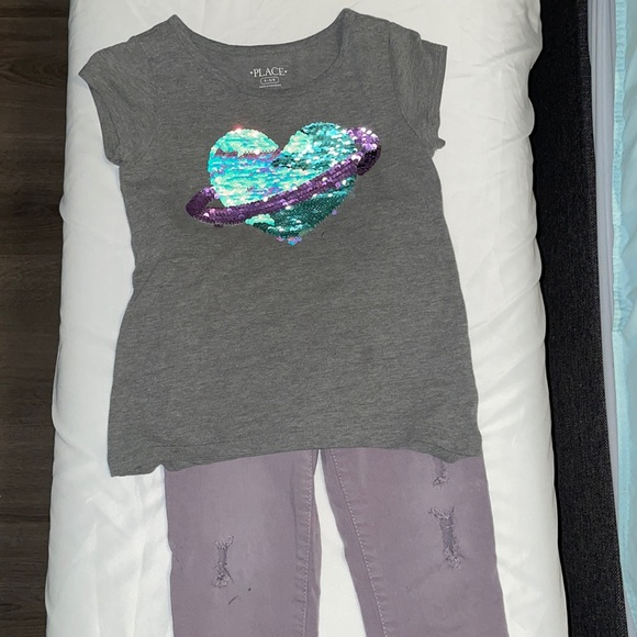 The Children's Place Girls jeans and sequin tee 5T